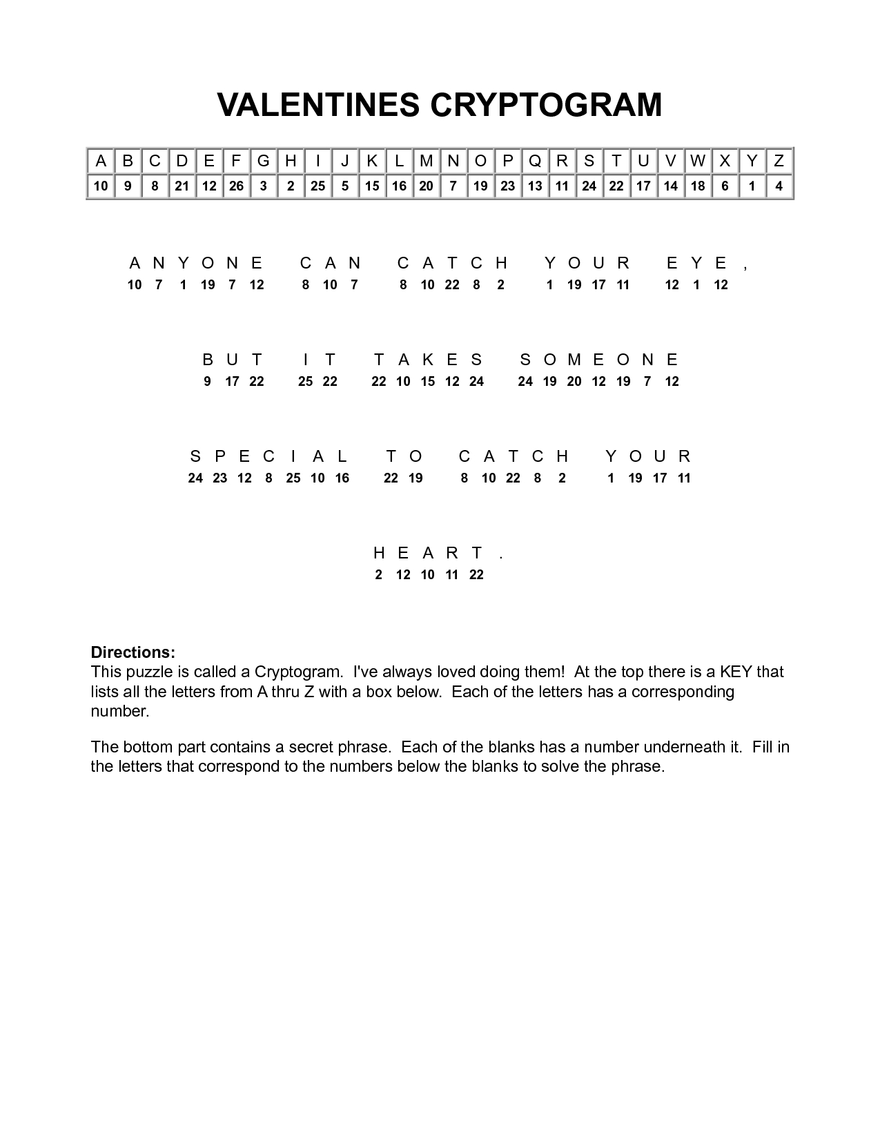 Printable Puzzles Cryptograms
