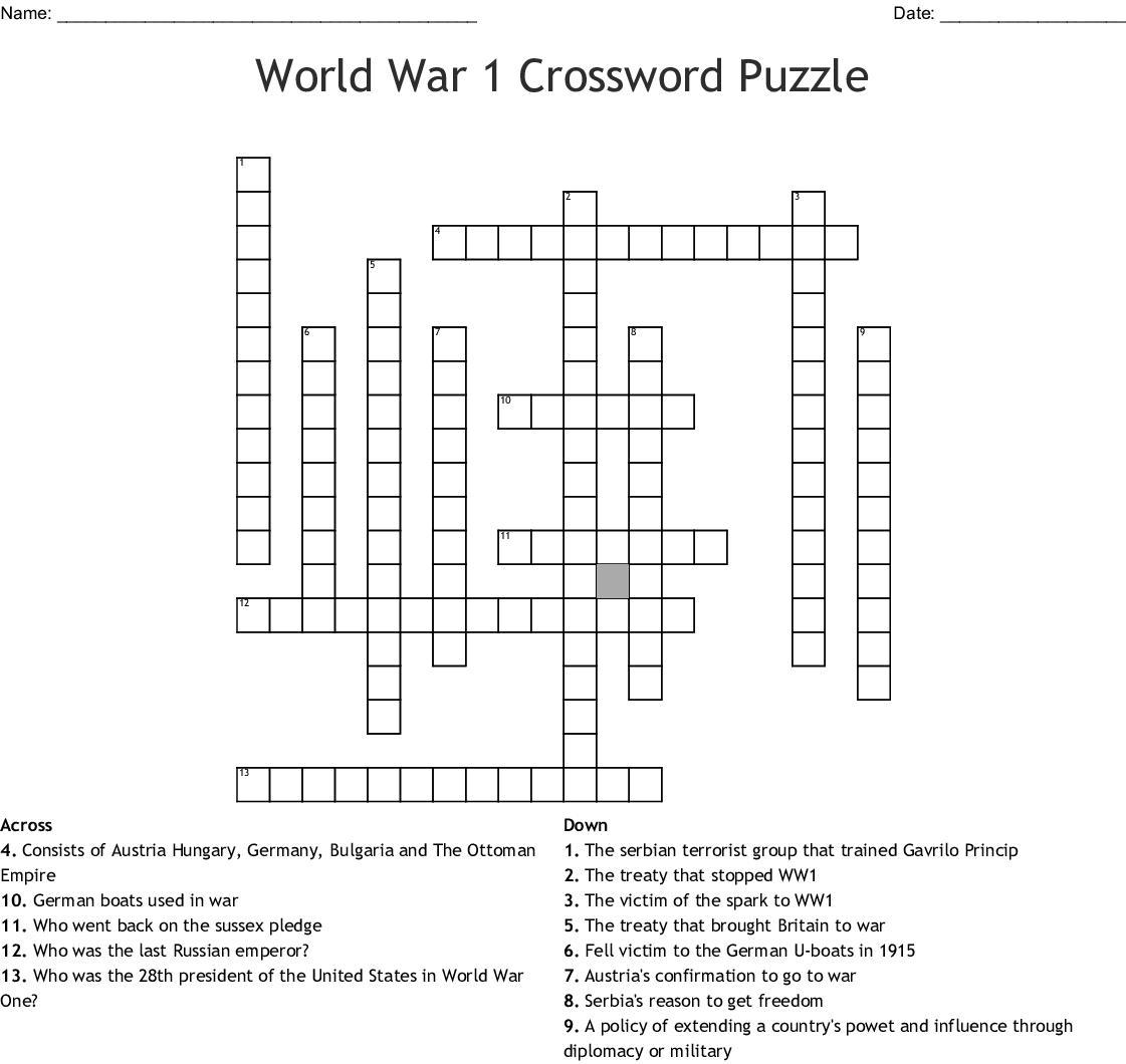 Printable Military Crossword Puzzles