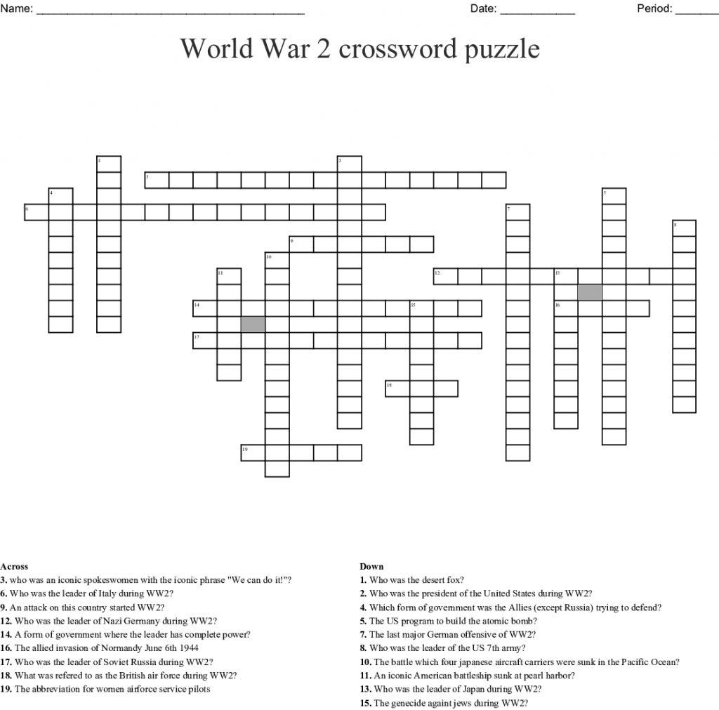 World War 2 Crossword Puzzle Crossword