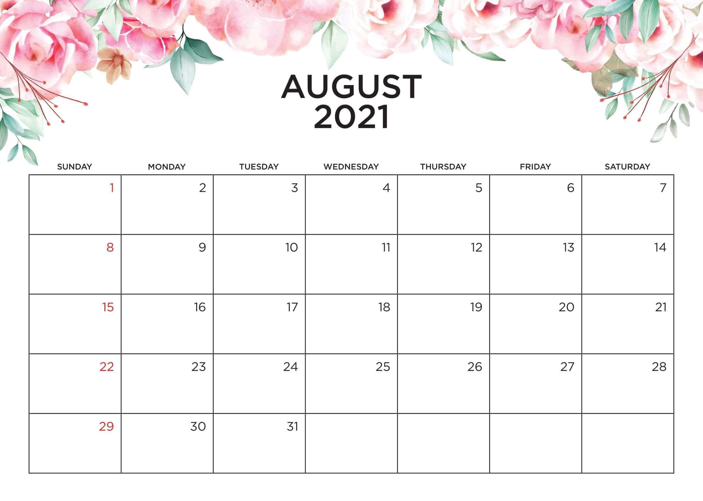 Cute August 2021 Calendar Wallpaper For Desk | Floral August Calendar 2021 Wall Designs For Desktop