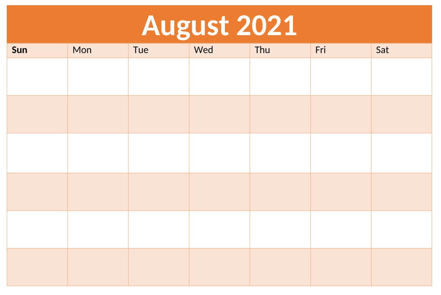 Editable August 2021 Calendar To Print PDF Word Blank Templates Notes