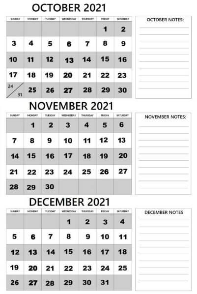 October November December 2021 Calendar – Blank Printable Template Free Download