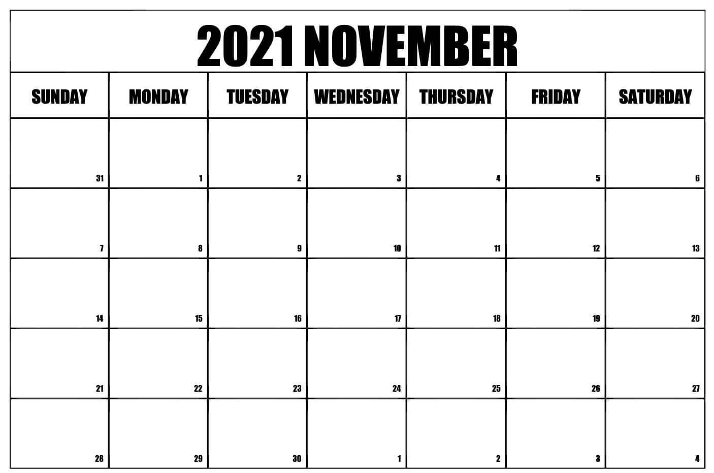 Blank November 2021 Calendar Printable Template Notes