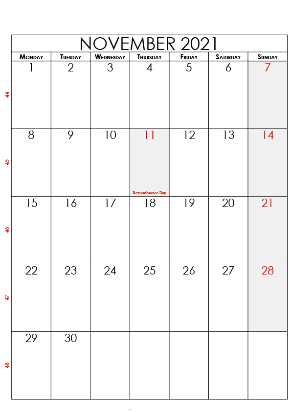 November 2021 Calendar With Holidays USA, UK, Canada, India, Australia