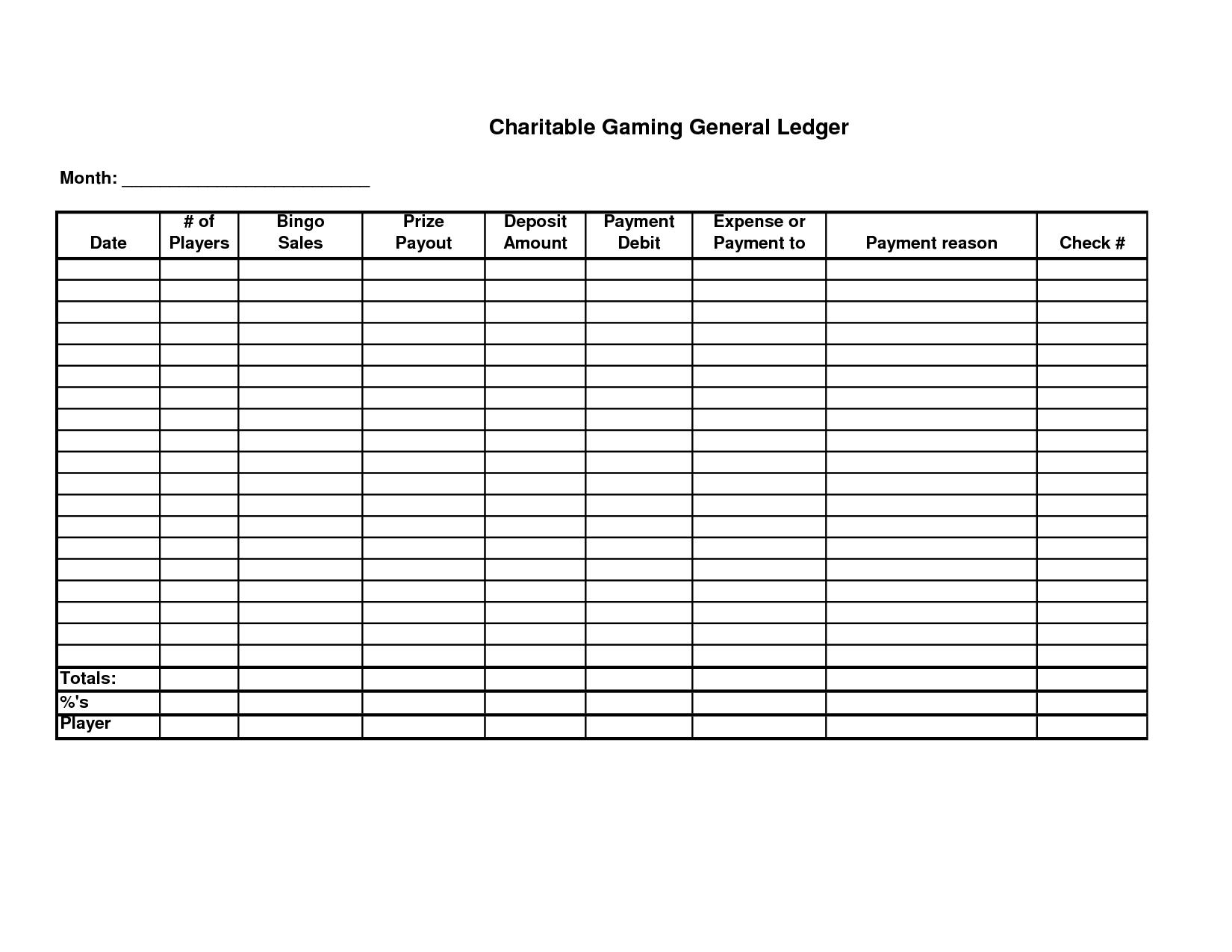 Free Printable Rental Ledger Template Form Sample