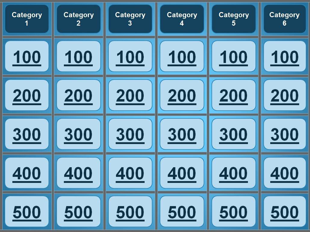 Free Printable Jeopardy Template