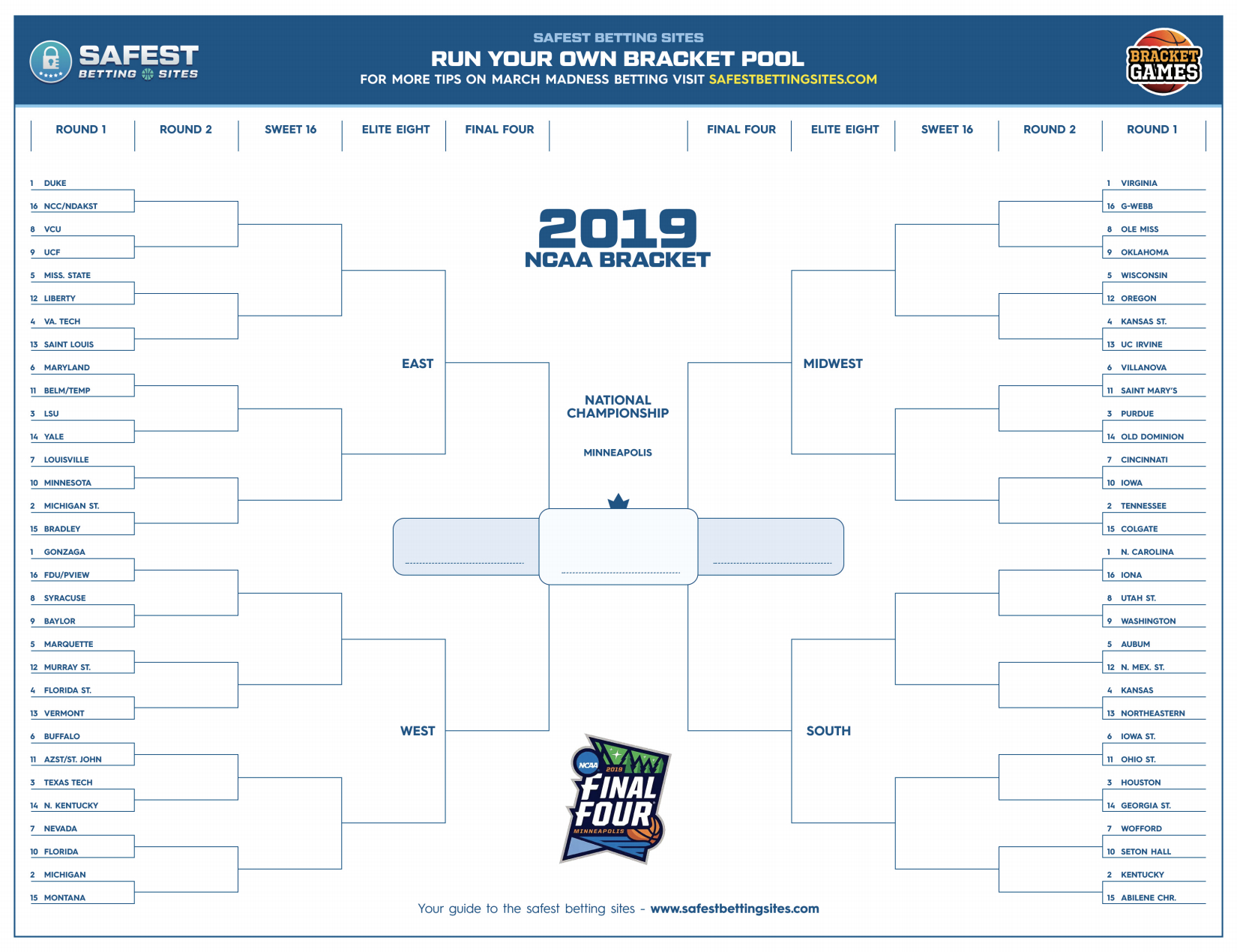 Free Printable March Madness Bracket