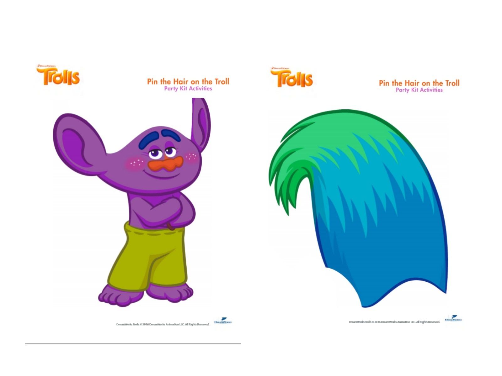 Free Trolls Photo Booth Props Printable