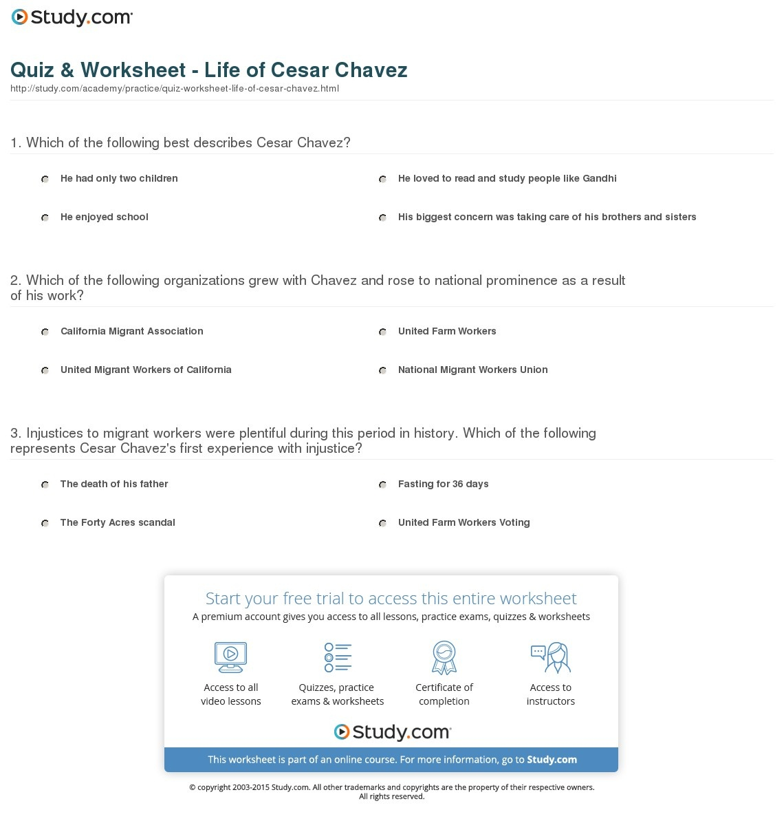 Cesar Chavez Free Printable Worksheets