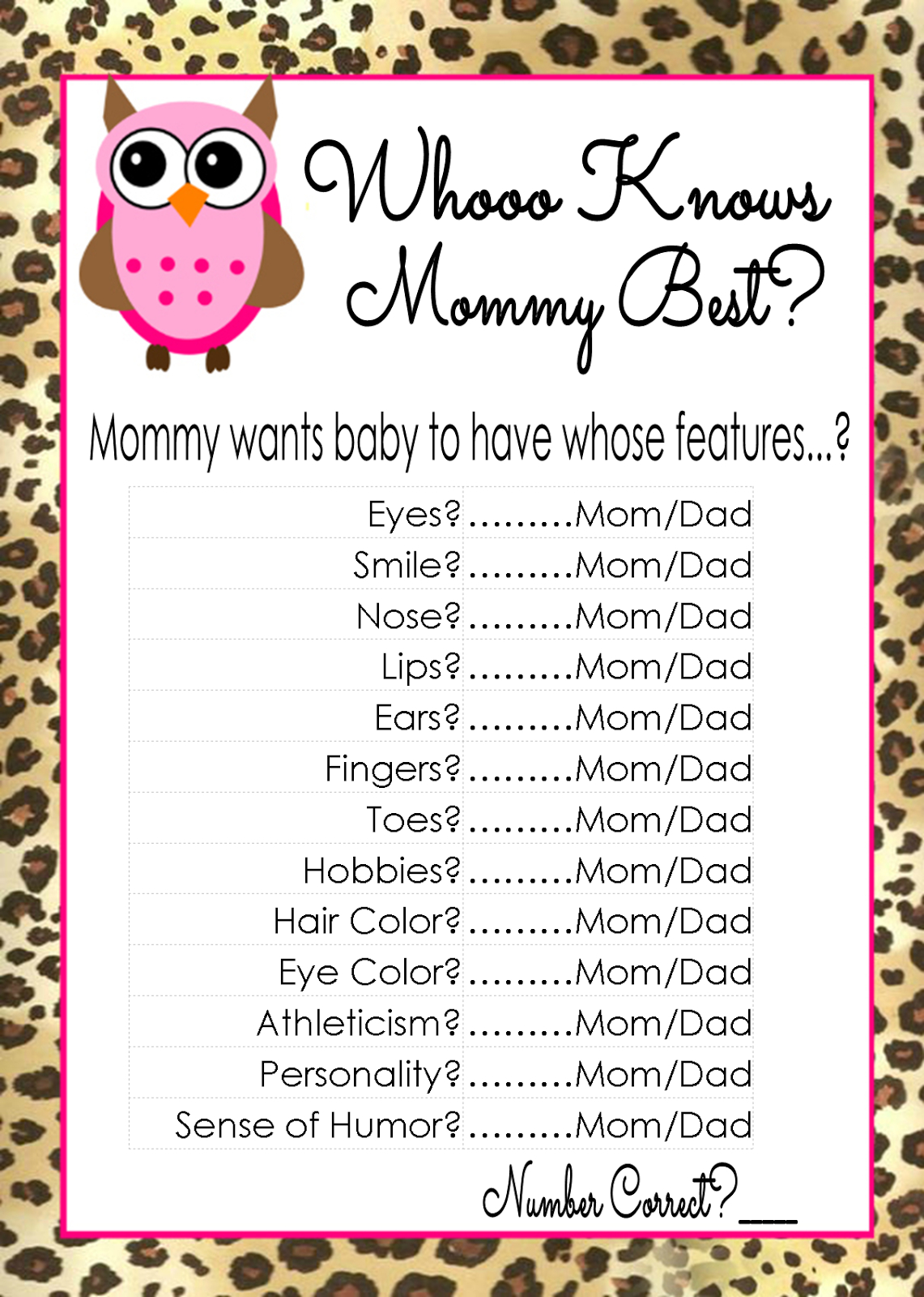 Who Knows Mommy And Daddy Best Free Printable