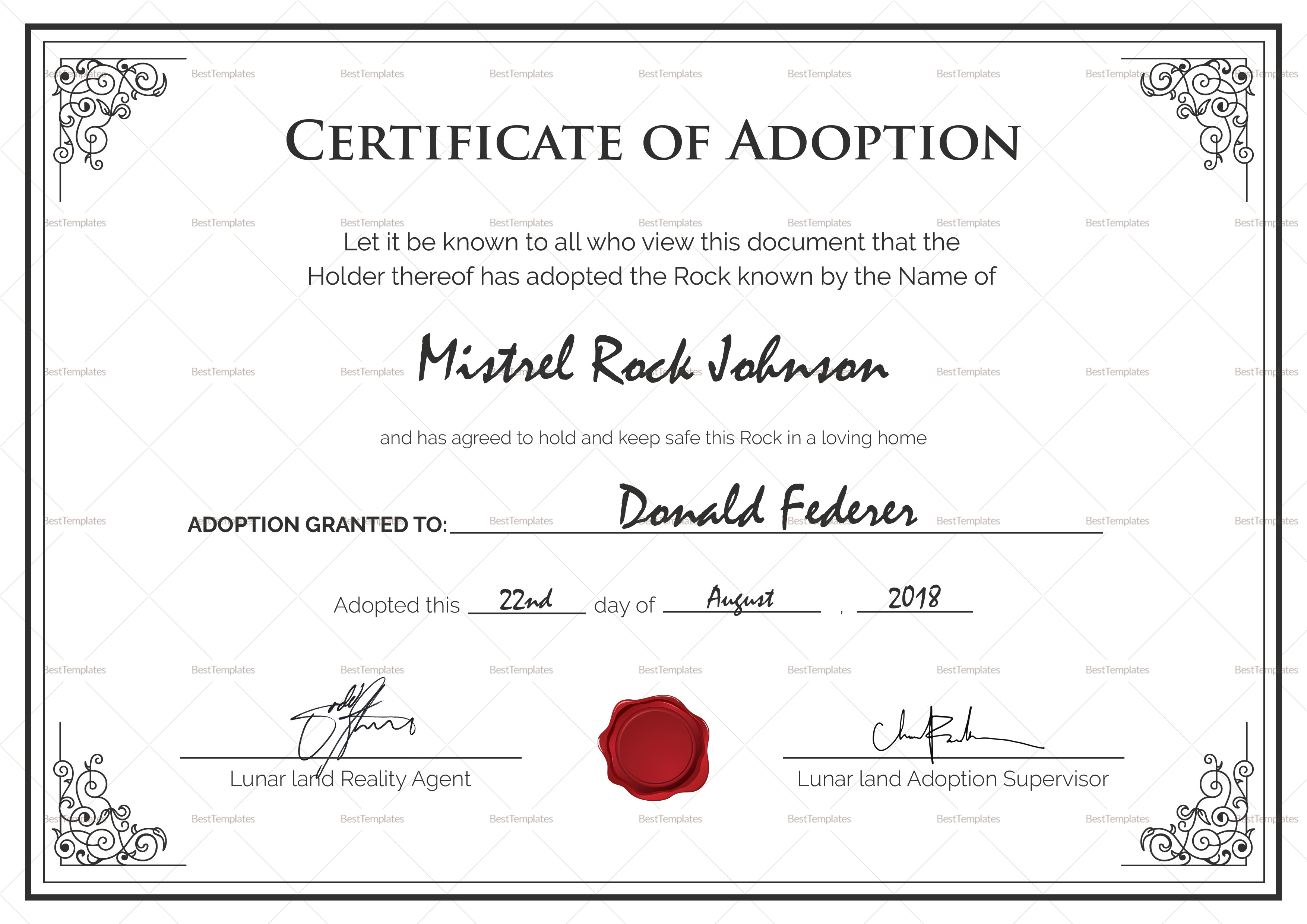 Fake Adoption Certificate Free Printable