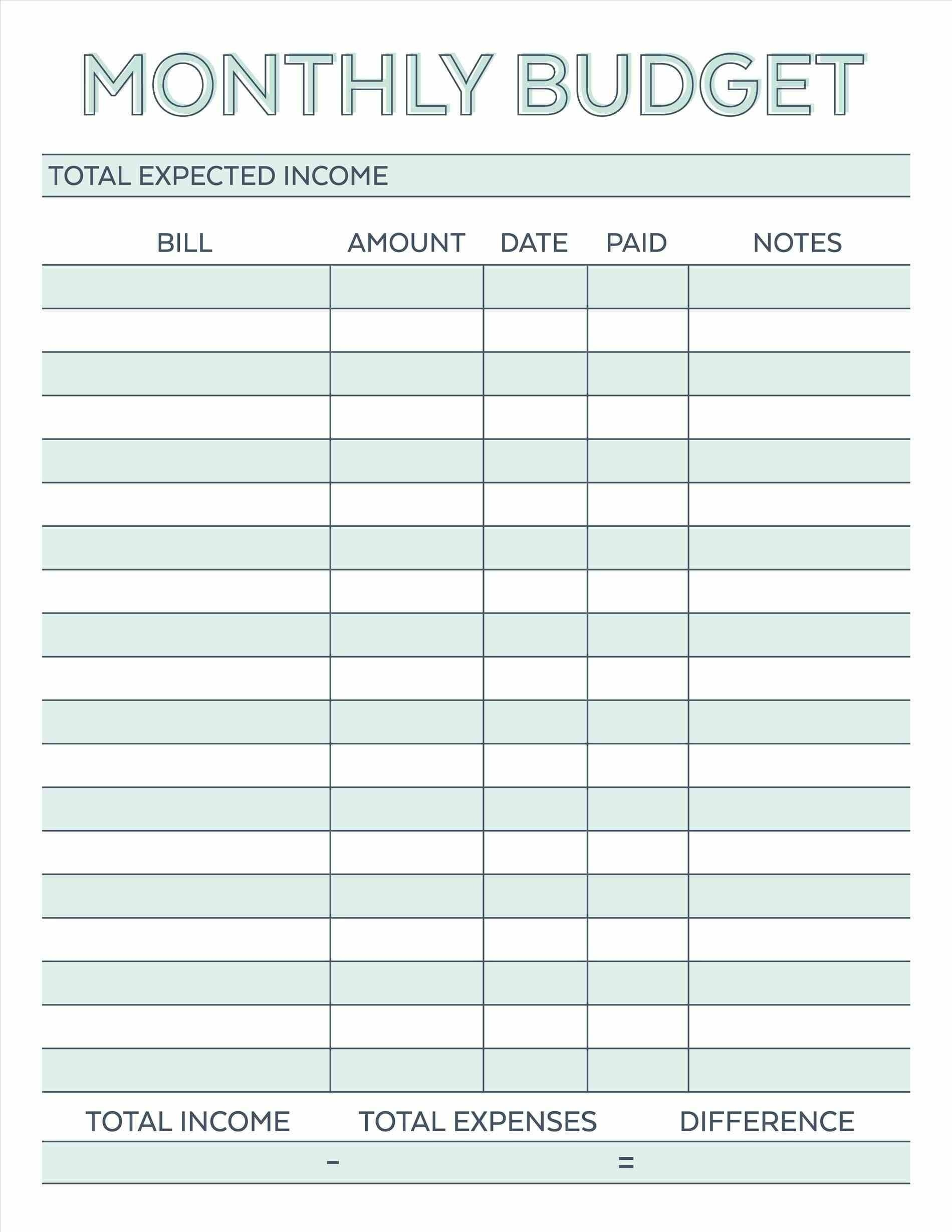 Household Budget Template Free Printable