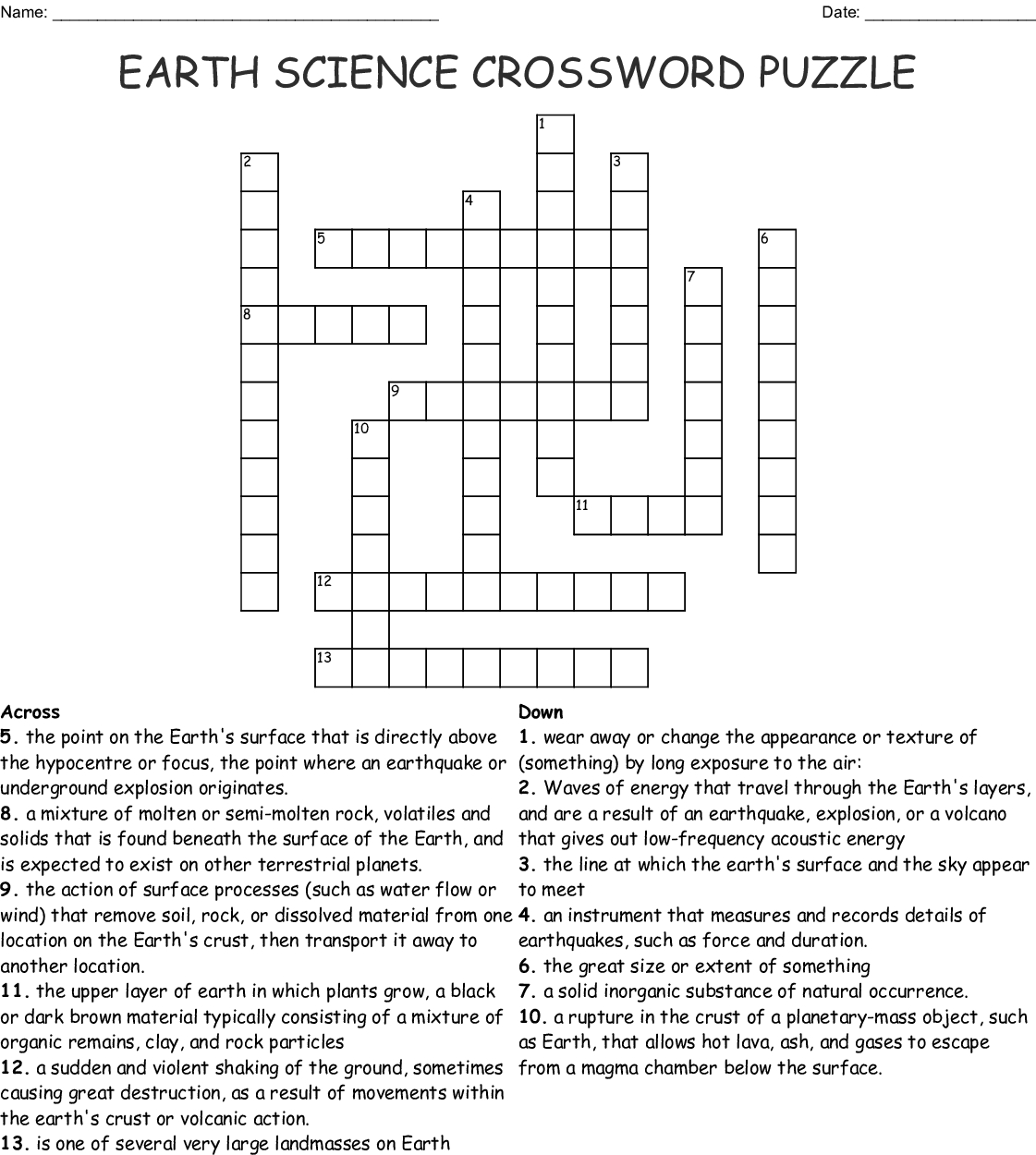 Free Printable Science Crossword Puzzles