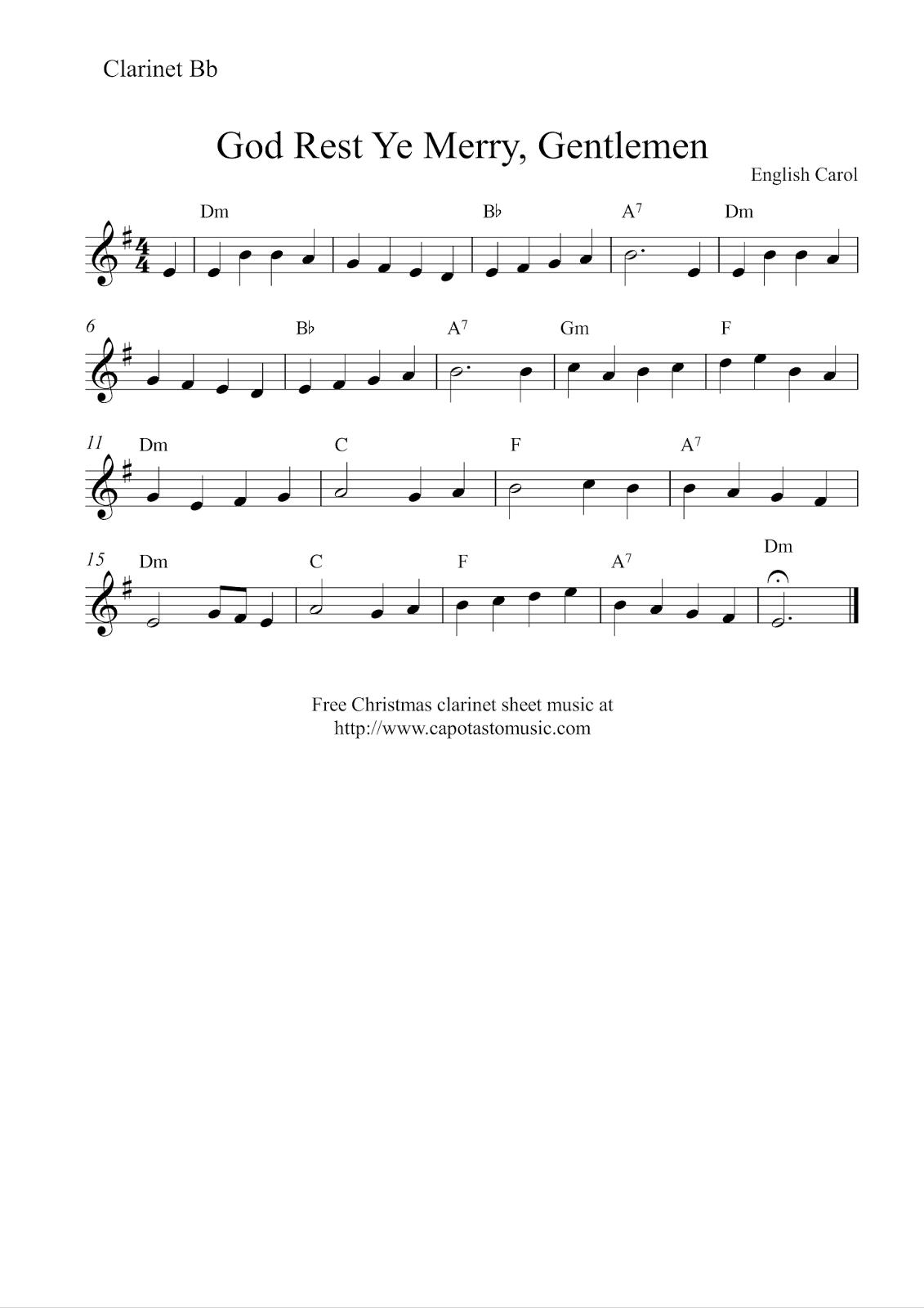 Free Printable Christmas Sheet Music For Clarinet
