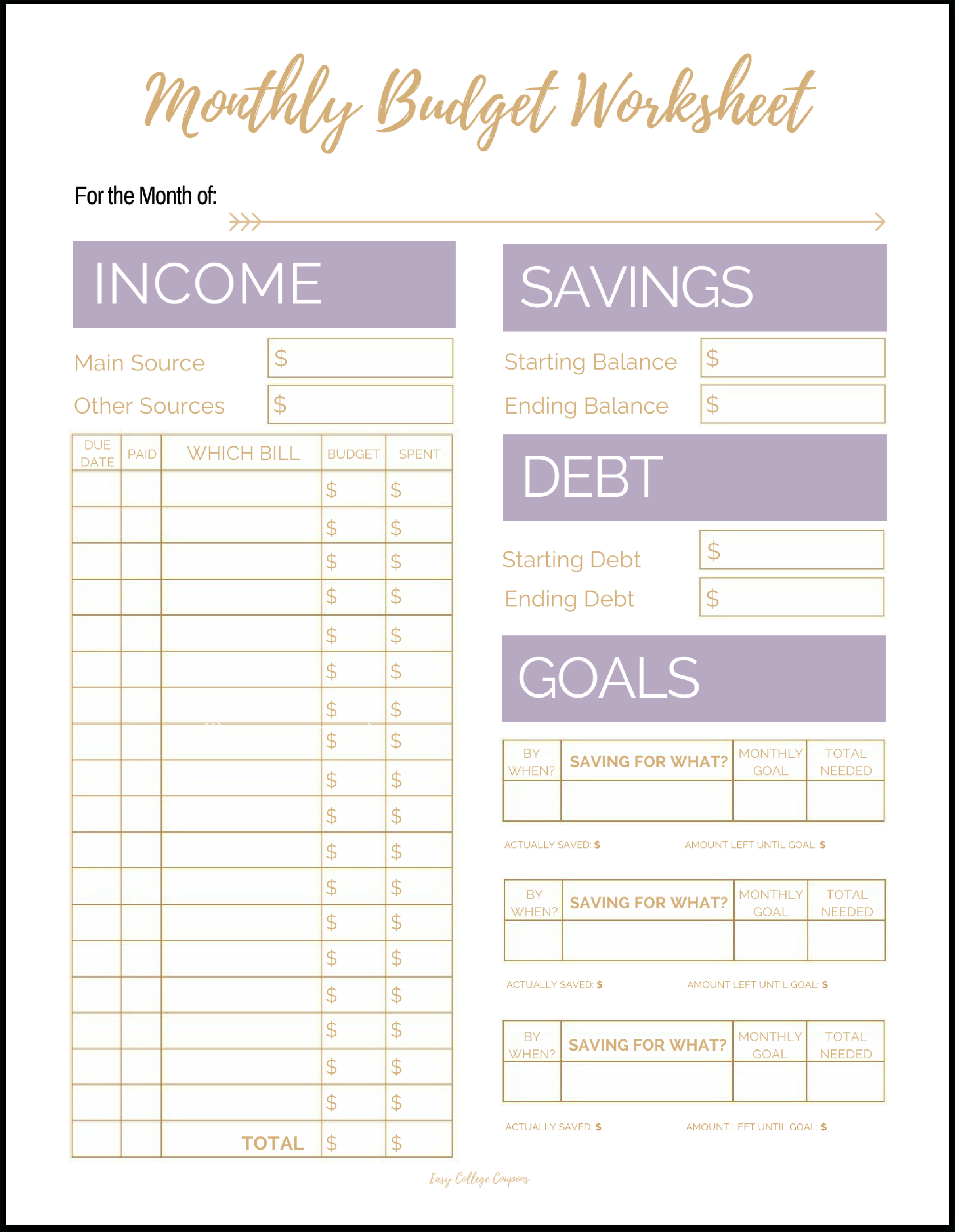 Blank Monthly Budget Worksheet The Future Pinterest