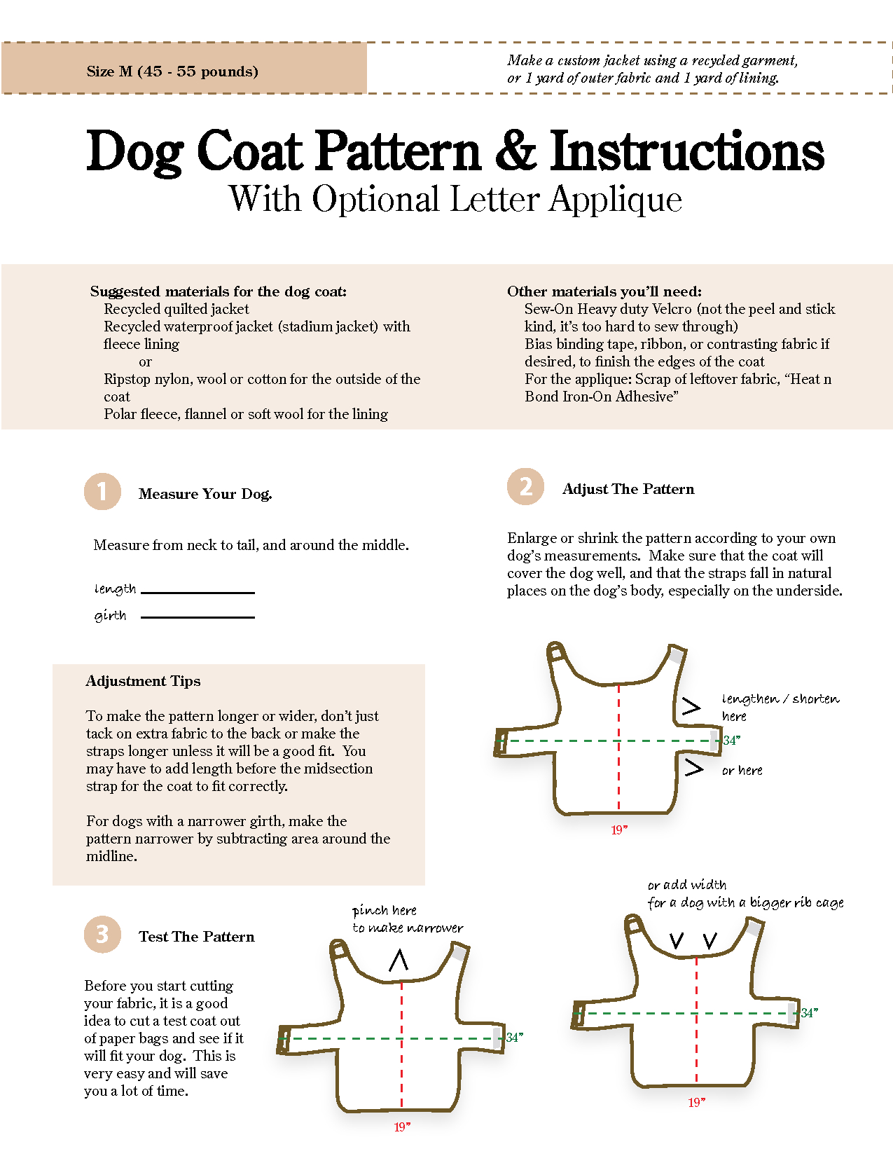 Free Printable Dog Coat Sewing Patterns