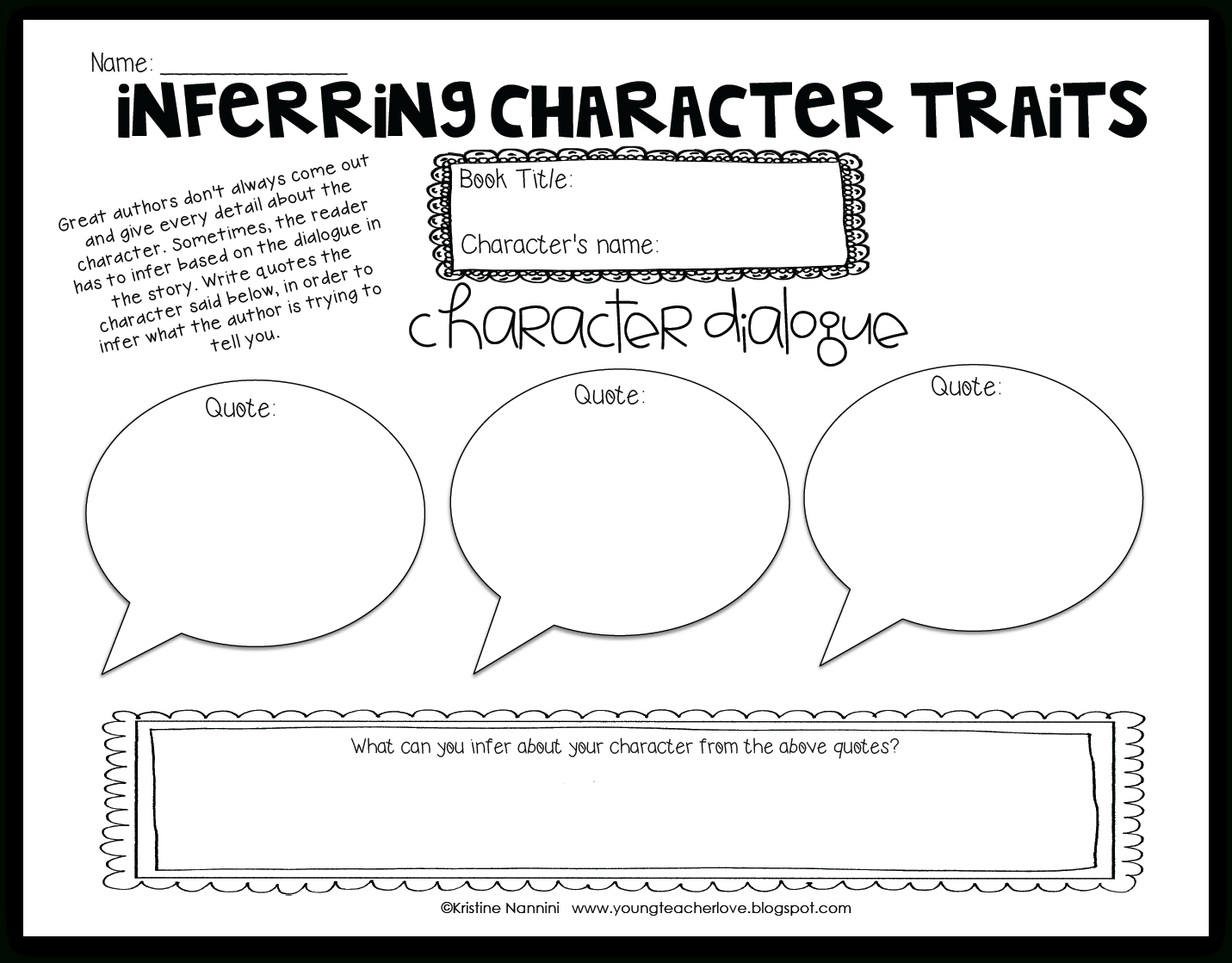 Free Printable Character Traits Graphic Organizer