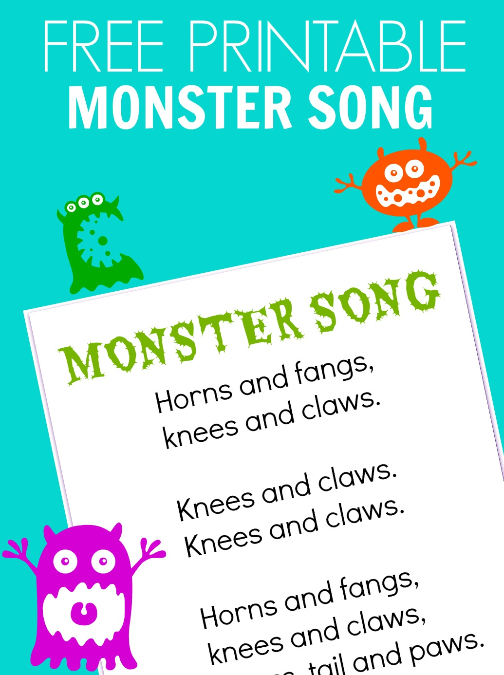Roll A Monster Free Printable