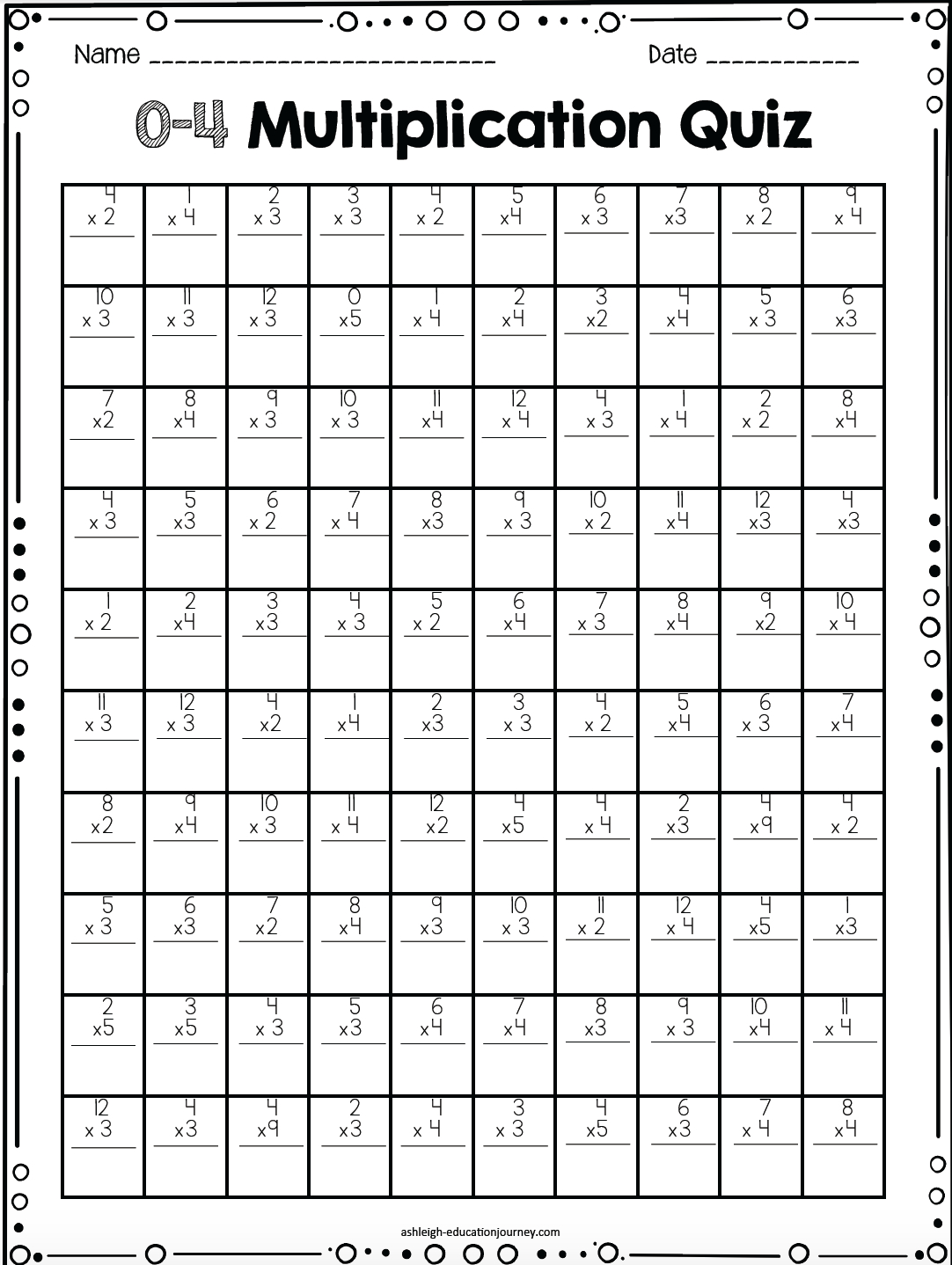 Free Printable Multiplication Timed Tests