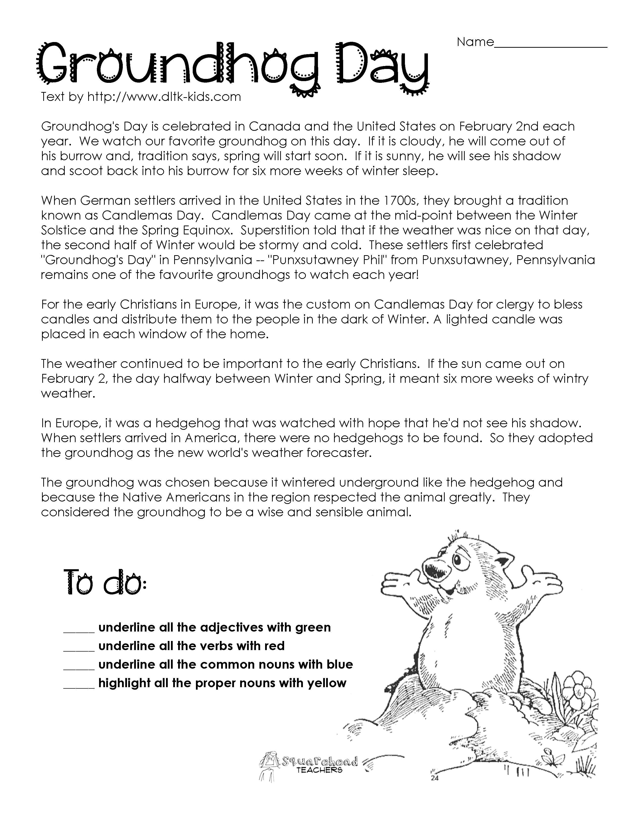Free Printable Groundhog Day Reading Comprehension