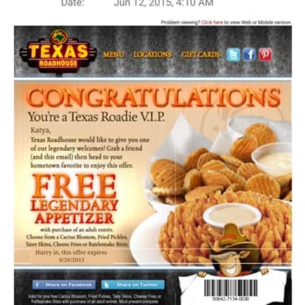 Texas Roadhouse Free Appetizer Printable Coupon