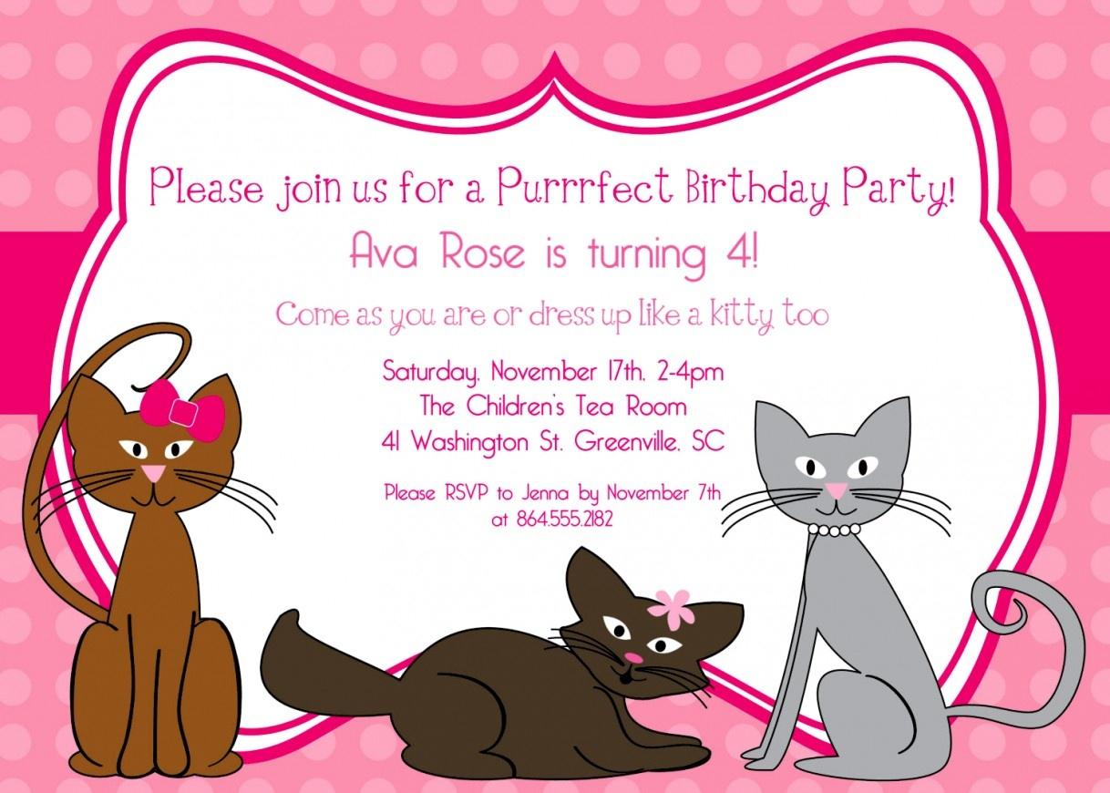 Cat Birthday Party Invitation Kitten Invitation Cat