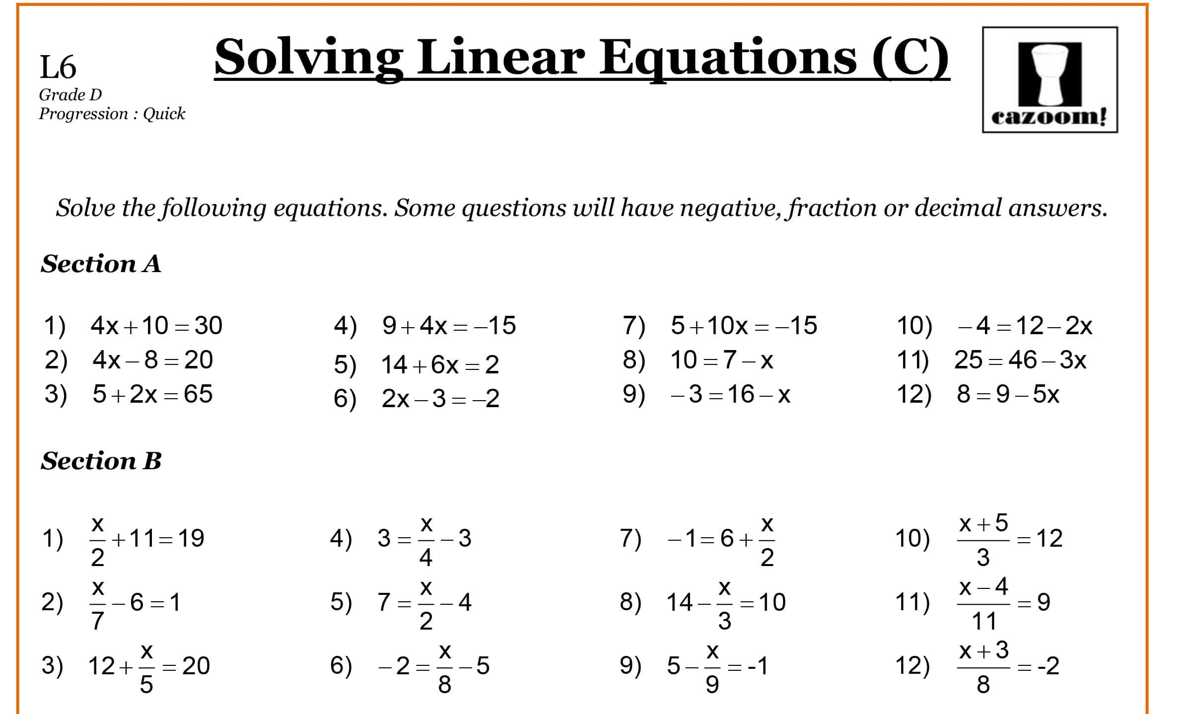 Grade 9 Math Worksheets Printable Free With Answers