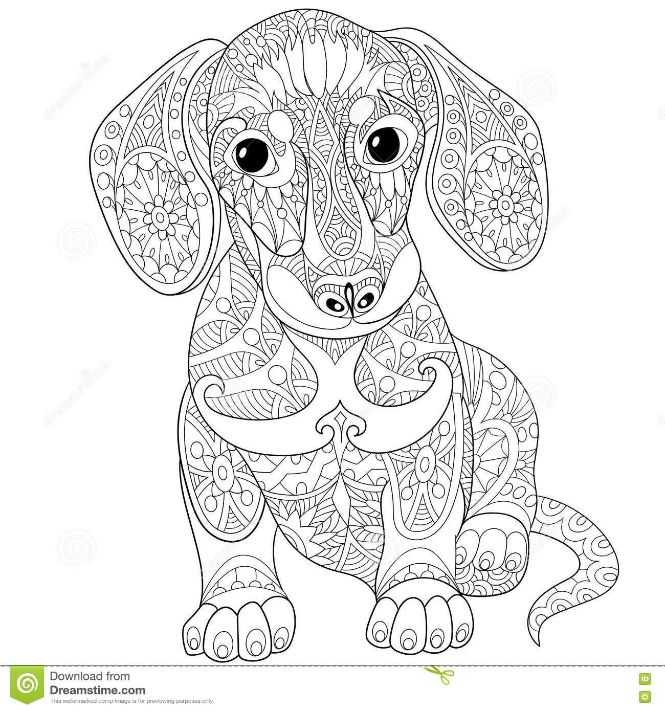 Zentangle Stylized Dachshund Dog