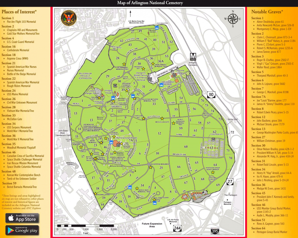 Printable Map Of Arlington National Cemetery