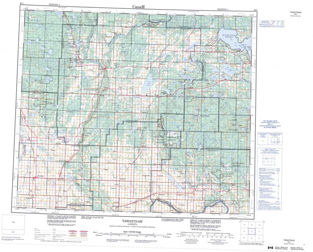 Printable Topographic Map Of Tawatinaw 083i Ab Regarding