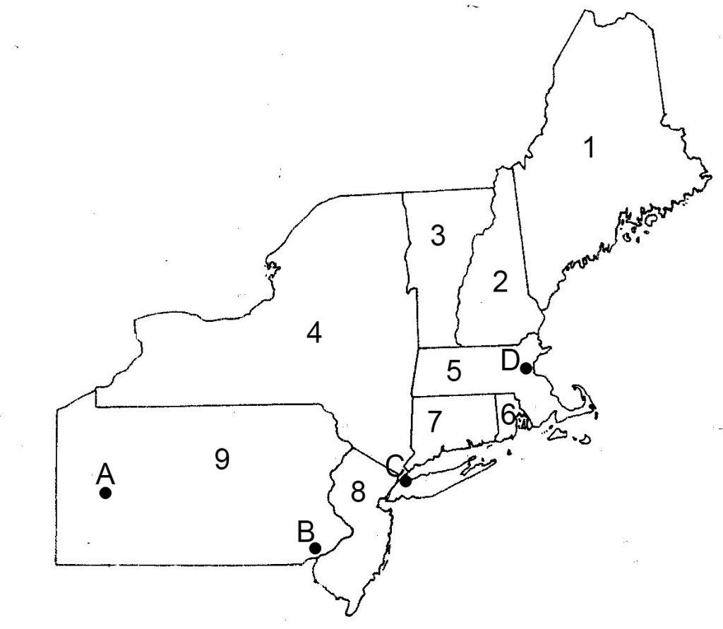 Blank Us Northeast Region Map Label Northeastern States