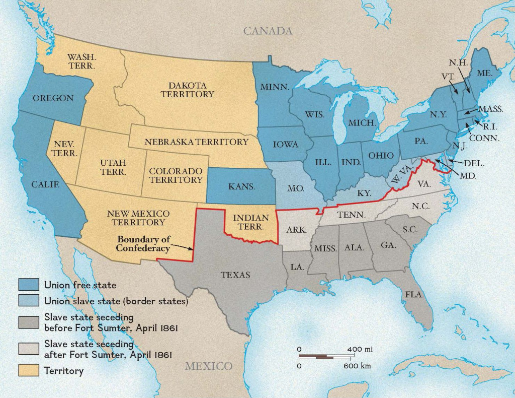 Printable Map Of The United States During The Civil War