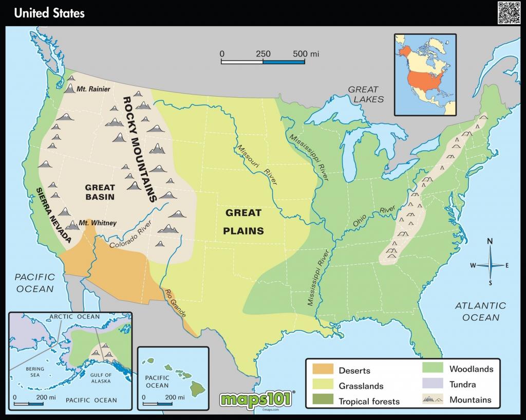 Physical Map Of Usa Printable