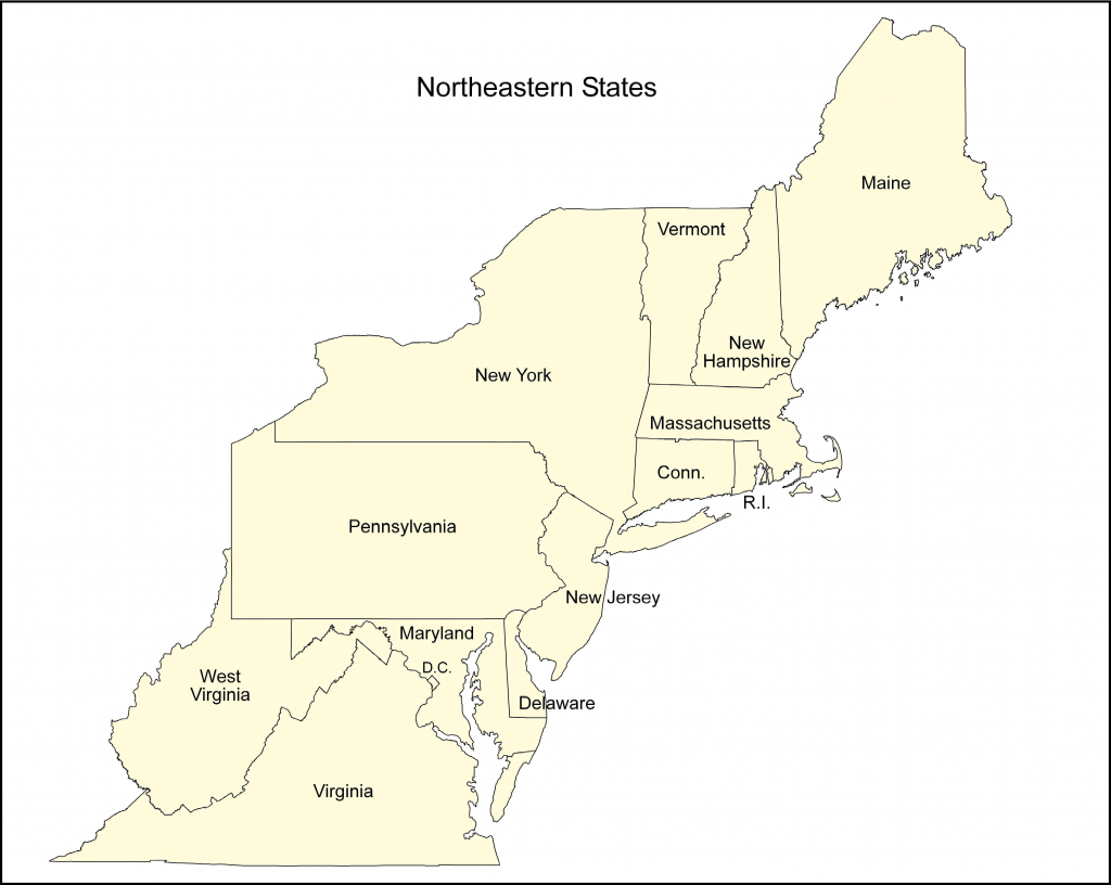 Map Of Eastern Us Printable North East States Usa Refrence