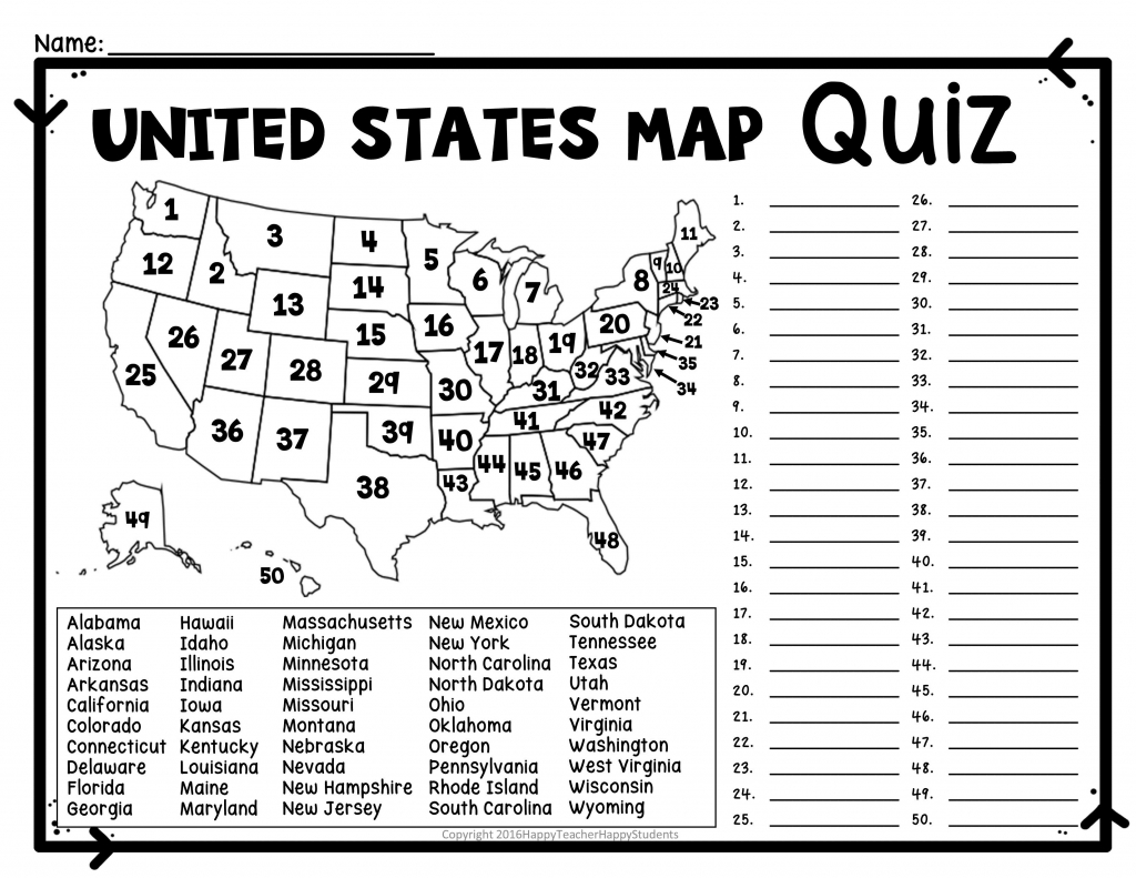 Numbered Us Map United States Quiz New Blank With