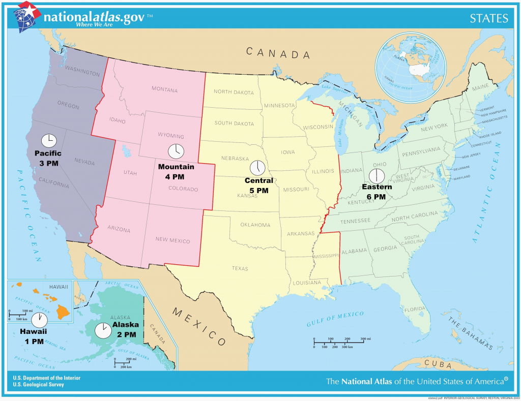 Timezone Map Of Us Color Time Zones Vector Usa State In