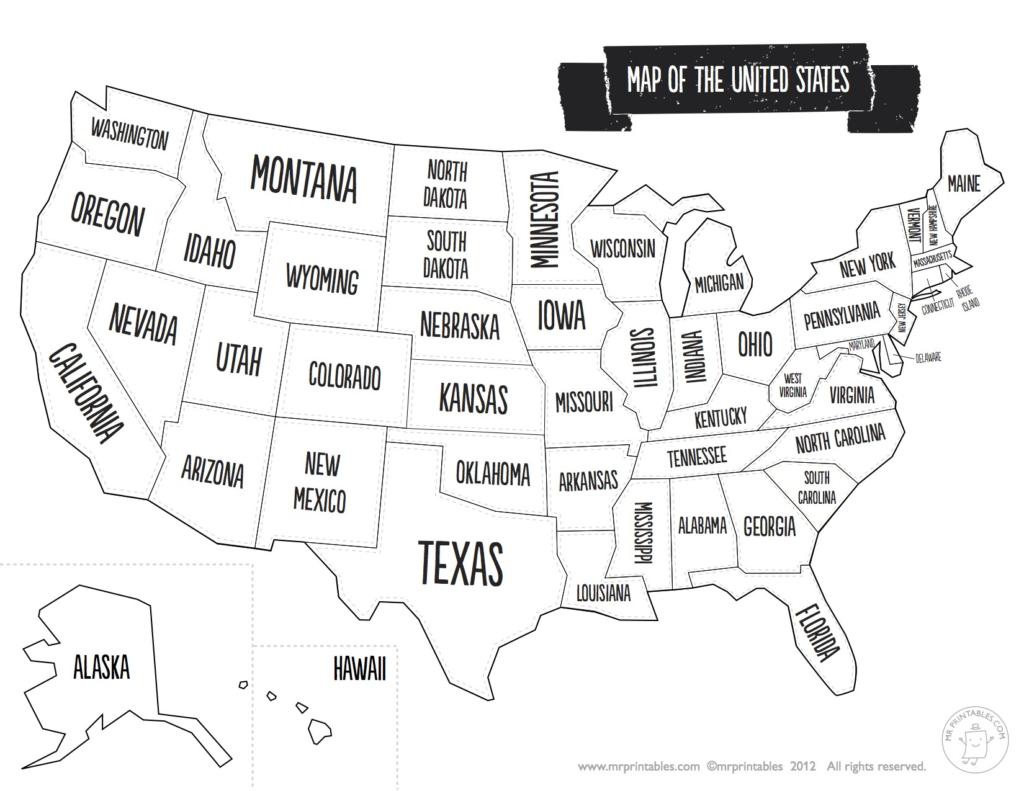 Us State Map Black And White Usagray Fresh Printable