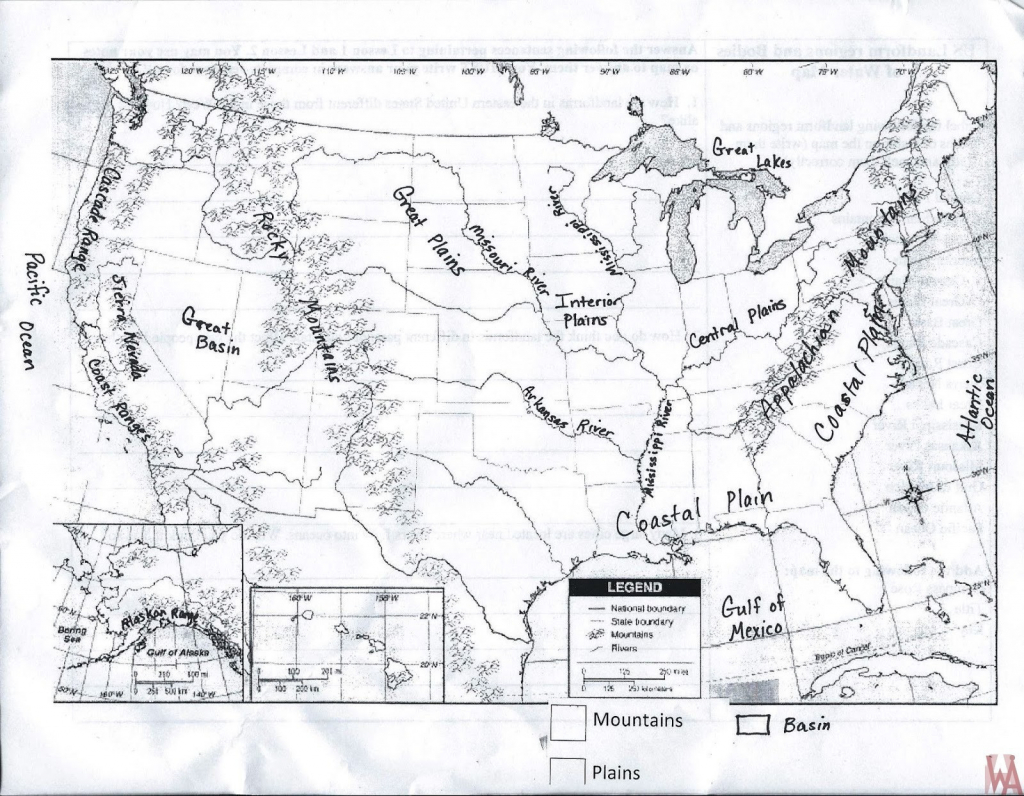 Printable Map Of Us Mountain Ranges