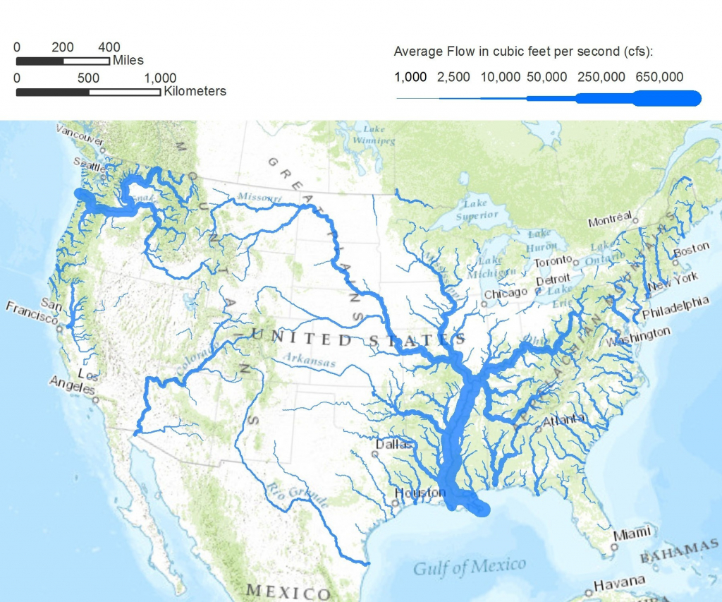 Printable Us Map With Mountains And Rivers