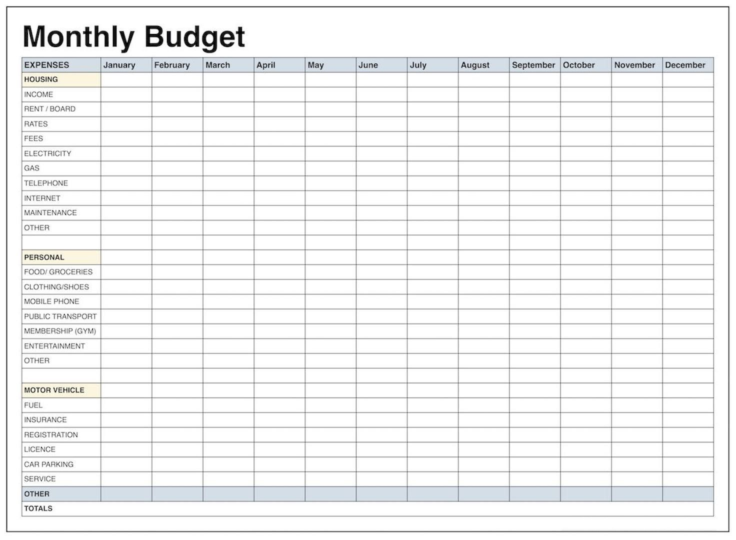 005 20blank Monthly Budget Template Templates