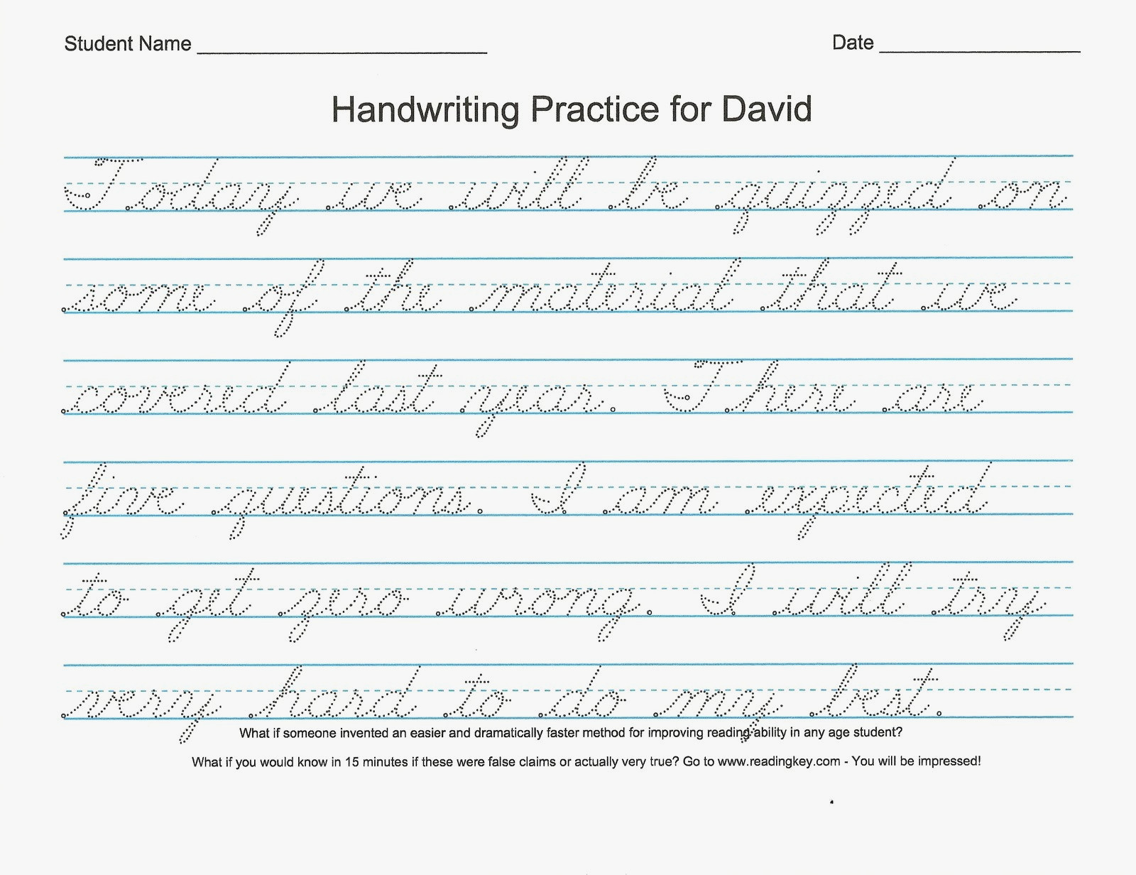 Free Printable Cursive Writing Worksheets For 4th Grade