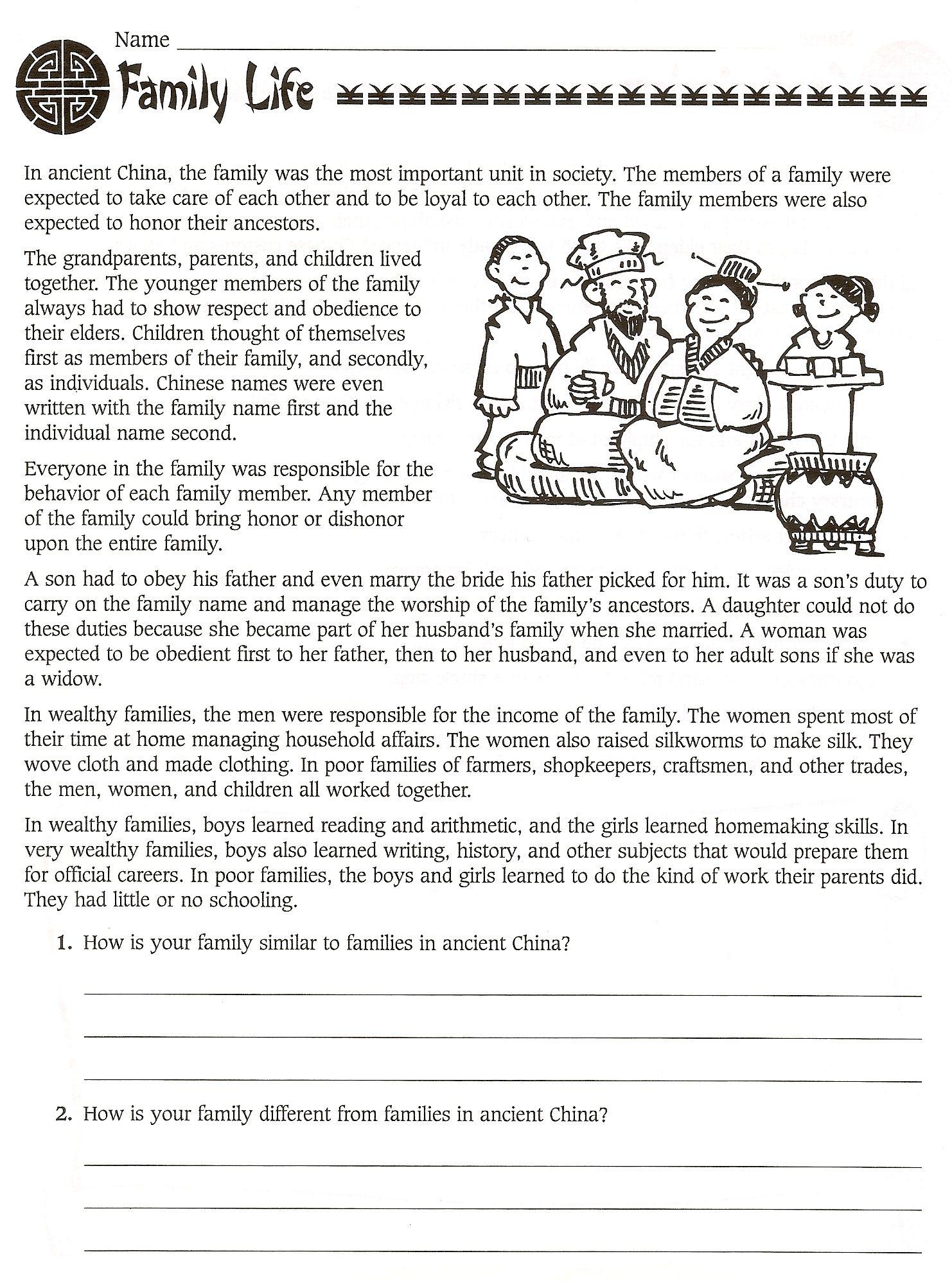6th Grade Social Stu S Ancient China Worksheets