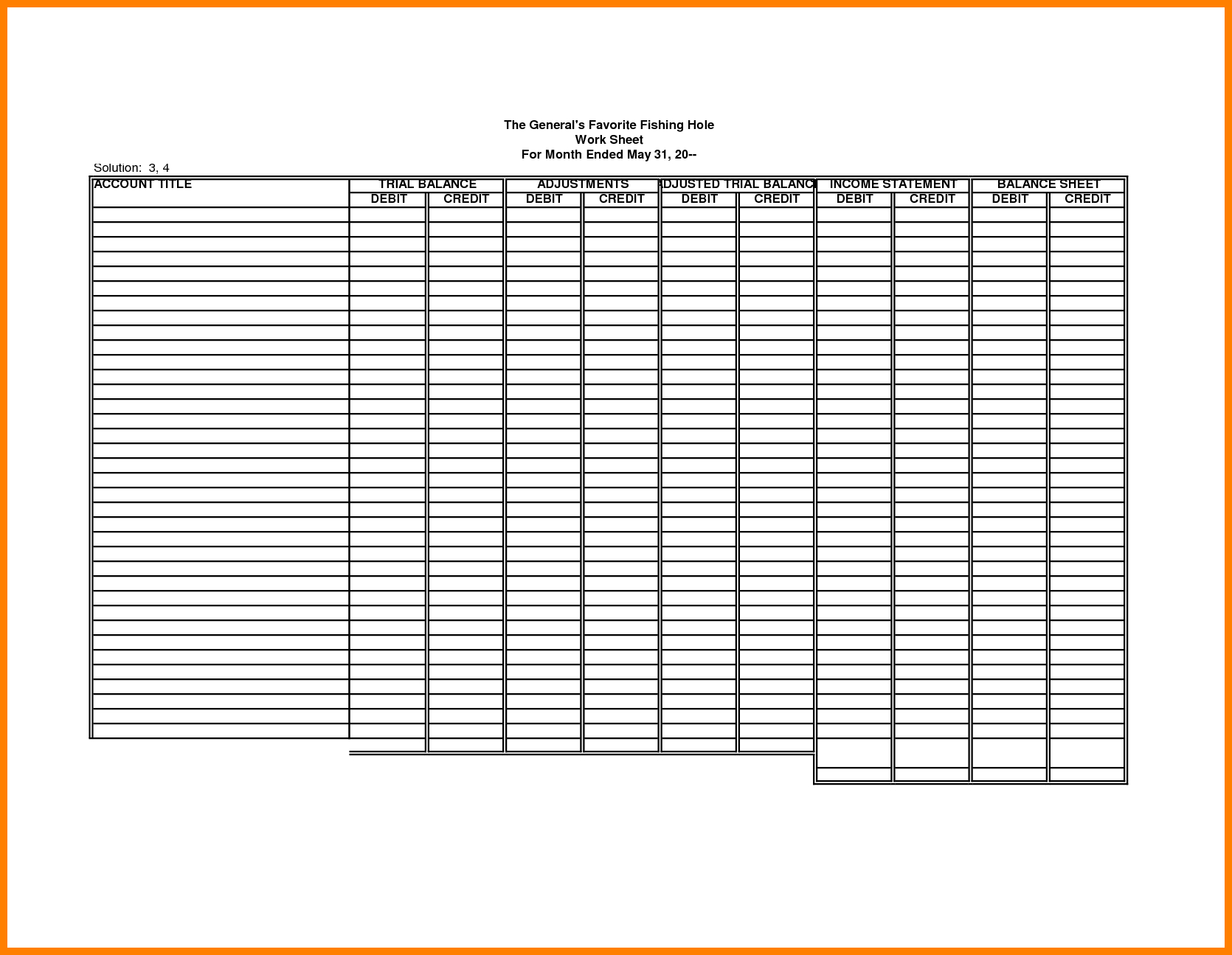 Blank Accounting Worksheets