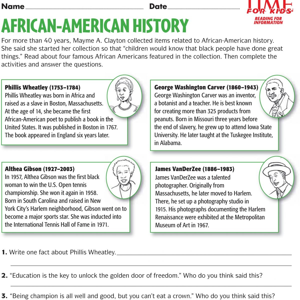 Free Black History Month Worksheet A Reading List