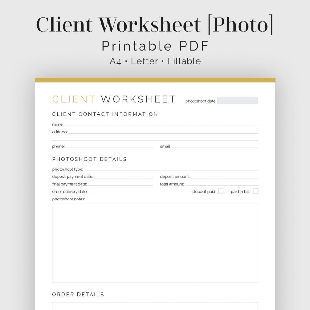 Client Worksheet Photography Fillable Printable