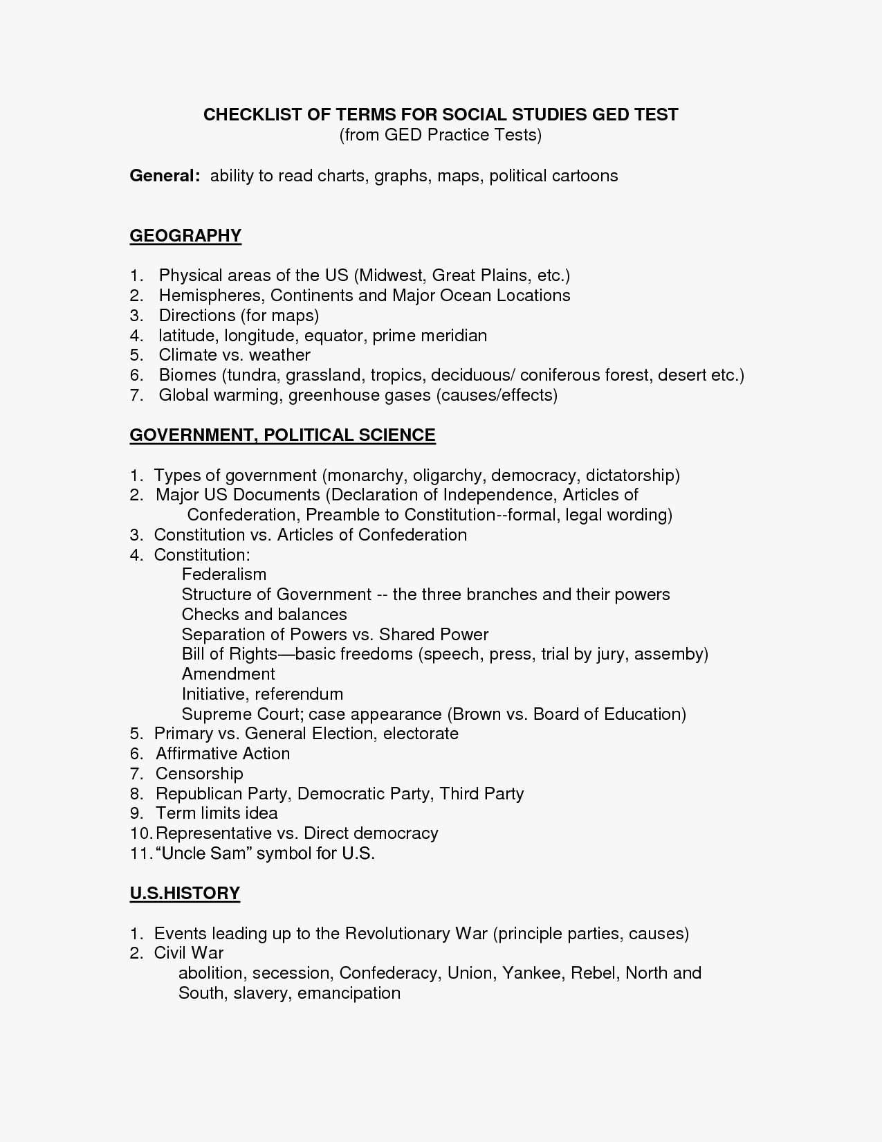 Ged Social Stu S Printable Worksheets