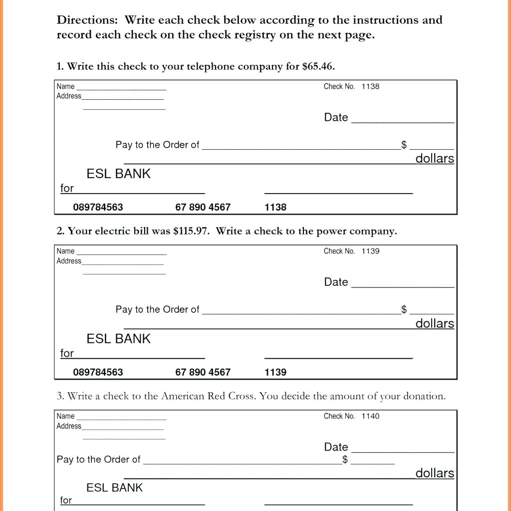 Printable Check Writing Worksheets
