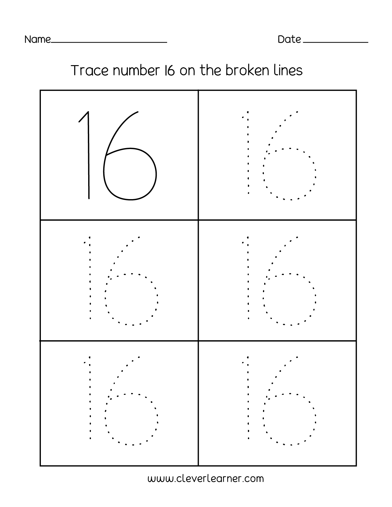 Number 16 Writing Counting And Identification Printable