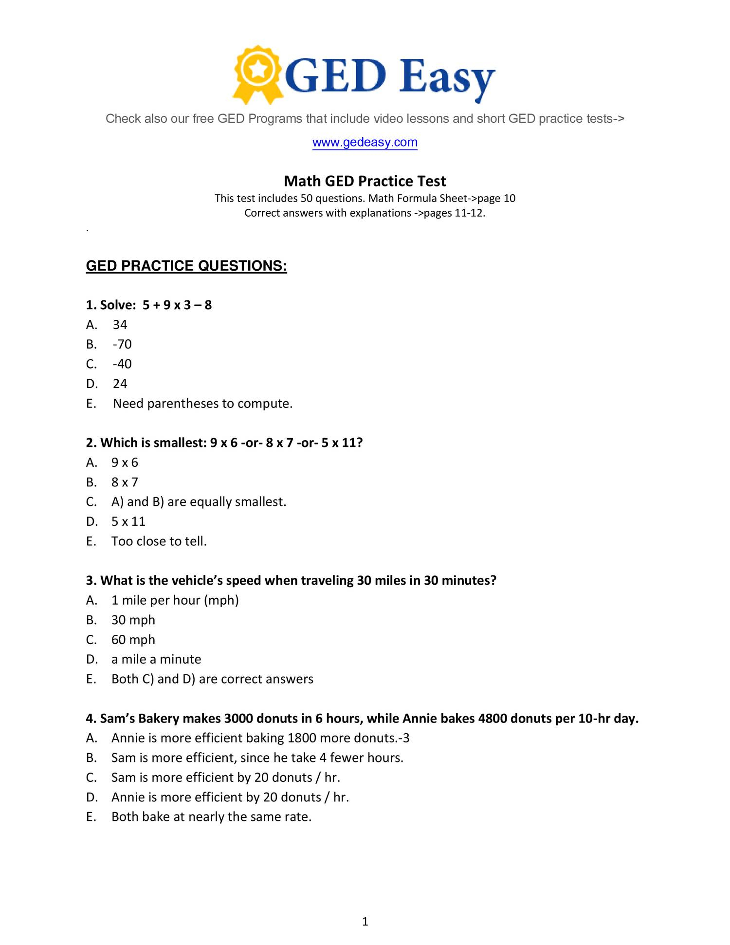 Printable Ged Practice Book