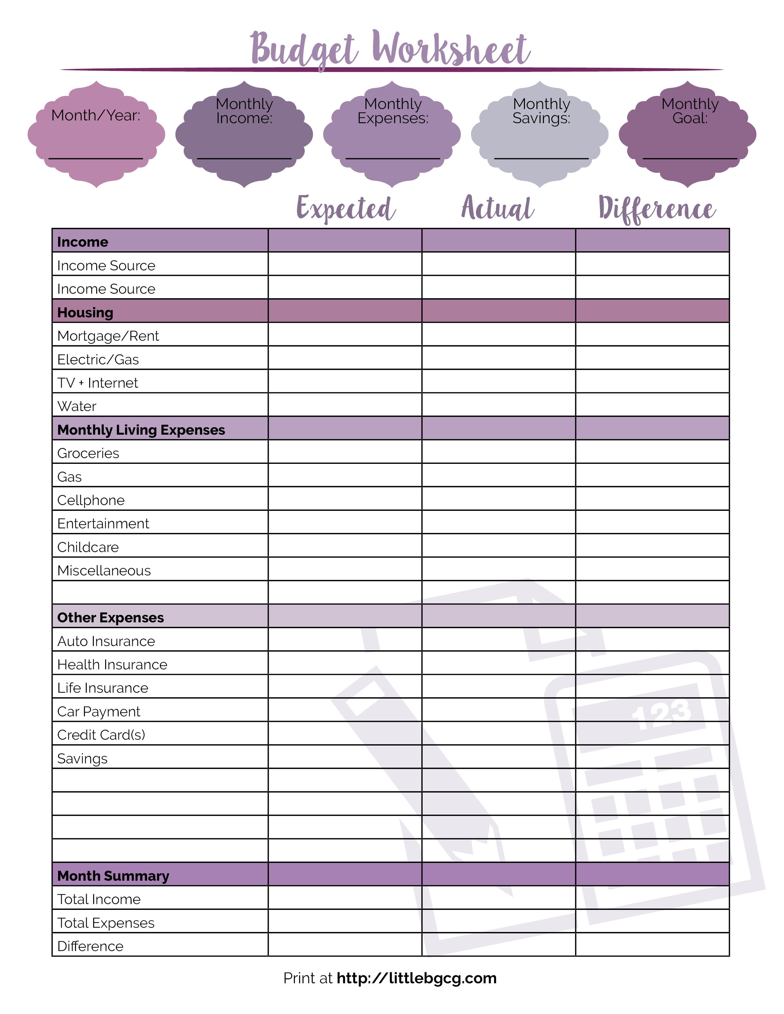 017 Free Printable Budget Worksheet Template Monthly